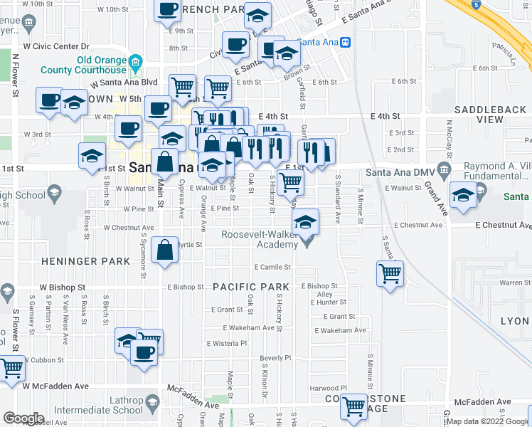 map of restaurants, bars, coffee shops, grocery stores, and more near 518 East Pine Street in Santa Ana