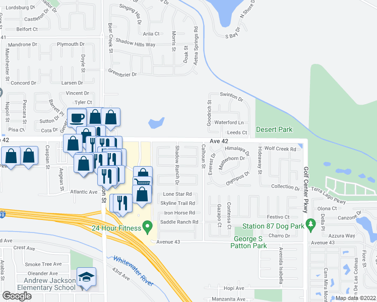map of restaurants, bars, coffee shops, grocery stores, and more near 83421 Matador Court in Indio