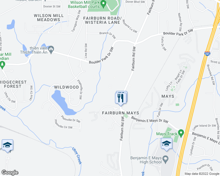 map of restaurants, bars, coffee shops, grocery stores, and more near Wildwood Park in Atlanta