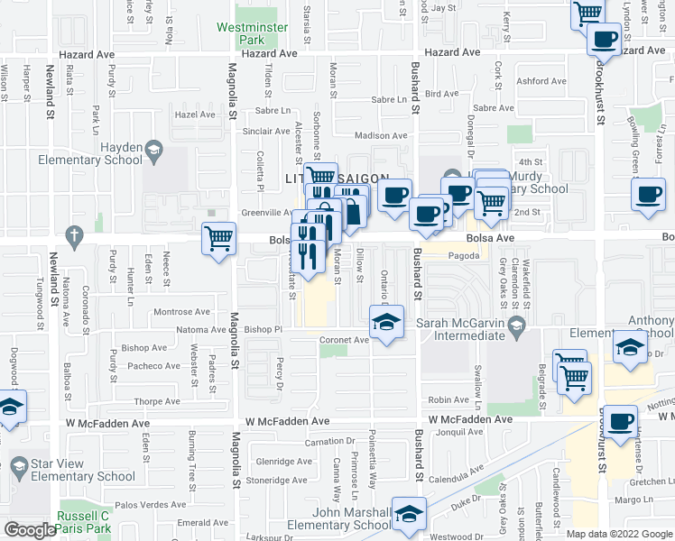 map of restaurants, bars, coffee shops, grocery stores, and more near 15044-15070 Moran Street in Westminster