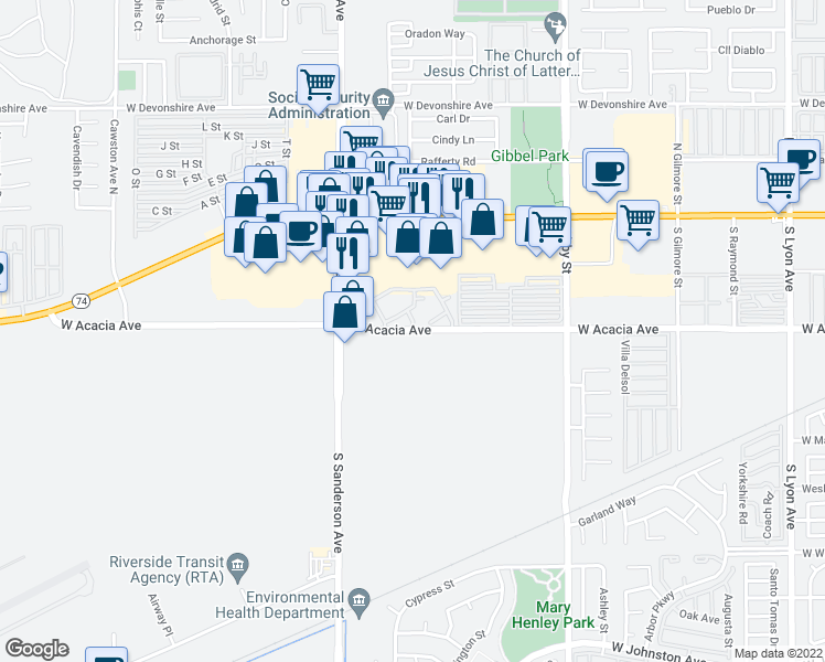 map of restaurants, bars, coffee shops, grocery stores, and more near 3062-3128 West Acacia Avenue in Hemet