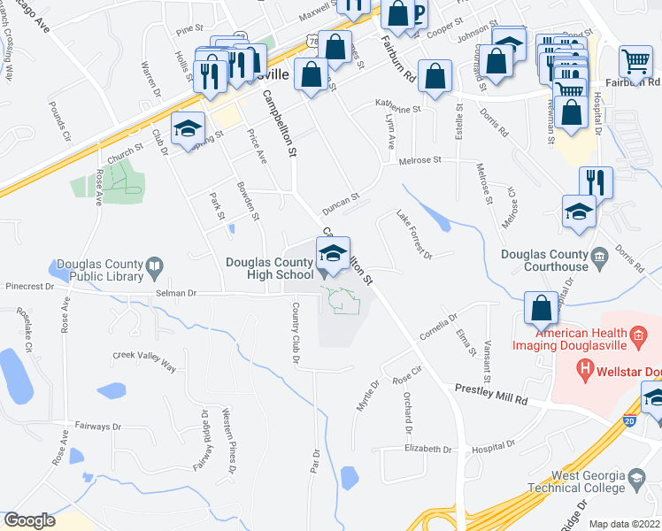 map of restaurants, bars, coffee shops, grocery stores, and more near 8705 Campbellton Street in Douglasville