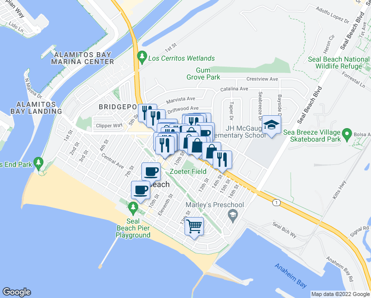 map of restaurants, bars, coffee shops, grocery stores, and more near Pacific Coast Hwy & 10th St in Seal Beach
