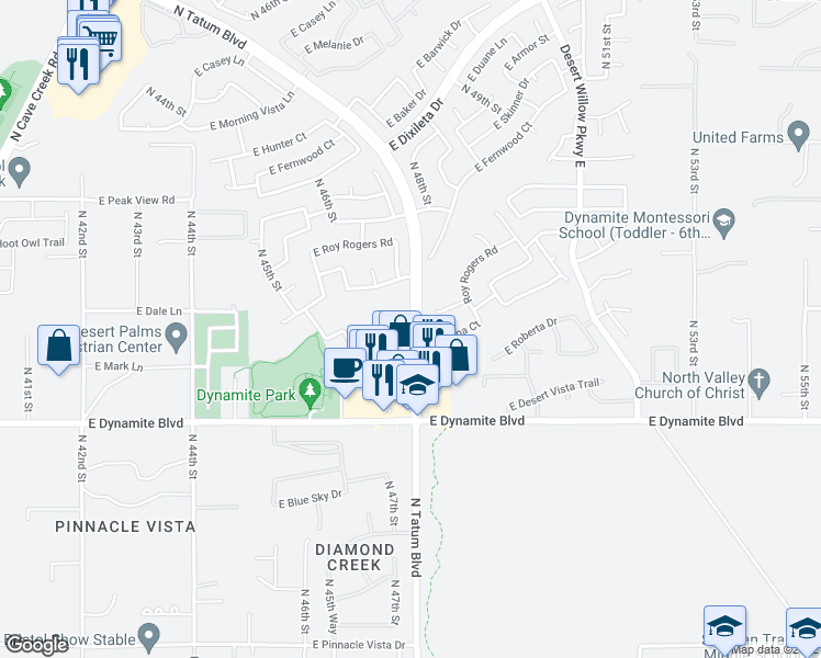 map of restaurants, bars, coffee shops, grocery stores, and more near 28384 North Tatum Boulevard in Cave Creek