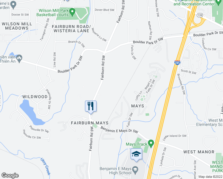 map of restaurants, bars, coffee shops, grocery stores, and more near Fairburn Towne Houses in Atlanta