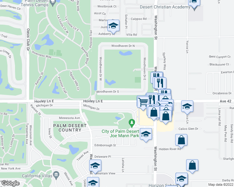 map of restaurants, bars, coffee shops, grocery stores, and more near 77707 Woodhaven Drive South in Palm Desert