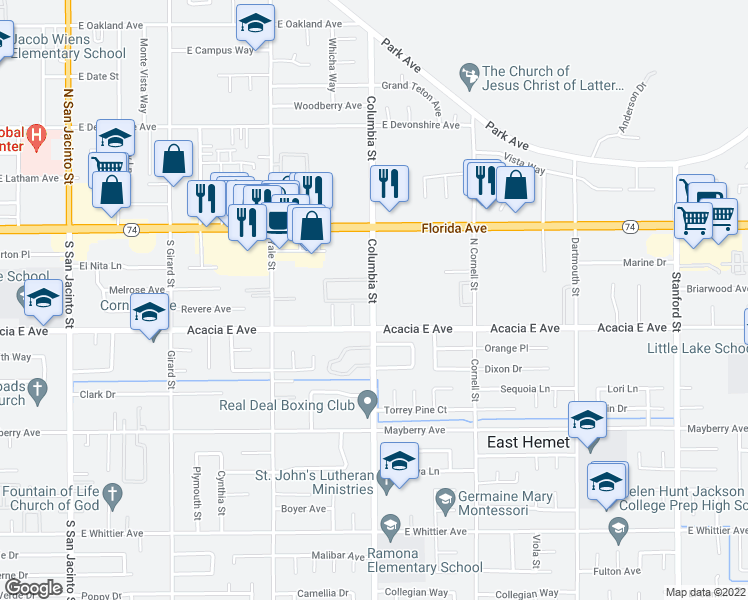 map of restaurants, bars, coffee shops, grocery stores, and more near 201 Columbia Street in Hemet