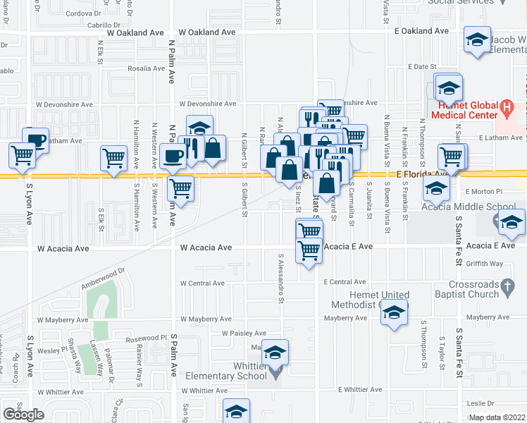 map of restaurants, bars, coffee shops, grocery stores, and more near 200 S Ramona St in Hemet