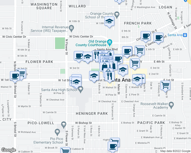 map of restaurants, bars, coffee shops, grocery stores, and more near 401 West 1st Street in Santa Ana