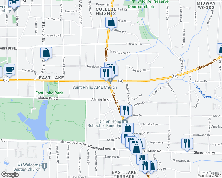 map of restaurants, bars, coffee shops, grocery stores, and more near Bobby Kelly Circle in Atlanta