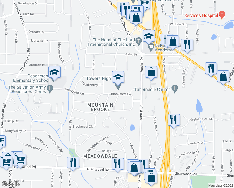 map of restaurants, bars, coffee shops, grocery stores, and more near 1596 West Austin Road in Decatur