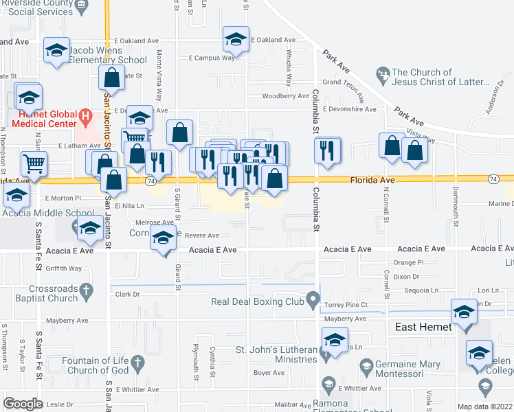 map of restaurants, bars, coffee shops, grocery stores, and more near 190 Yale Street in Hemet