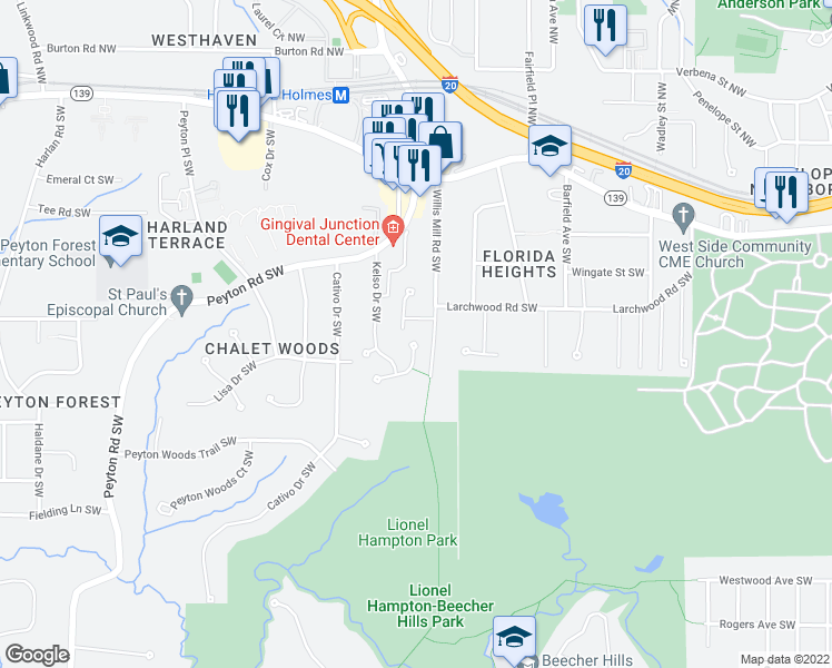 map of restaurants, bars, coffee shops, grocery stores, and more near 404 Patricia Circle Southwest in Atlanta