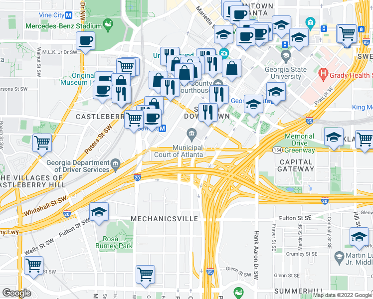 map of restaurants, bars, coffee shops, grocery stores, and more near 200 Memorial Drive Southwest in Atlanta