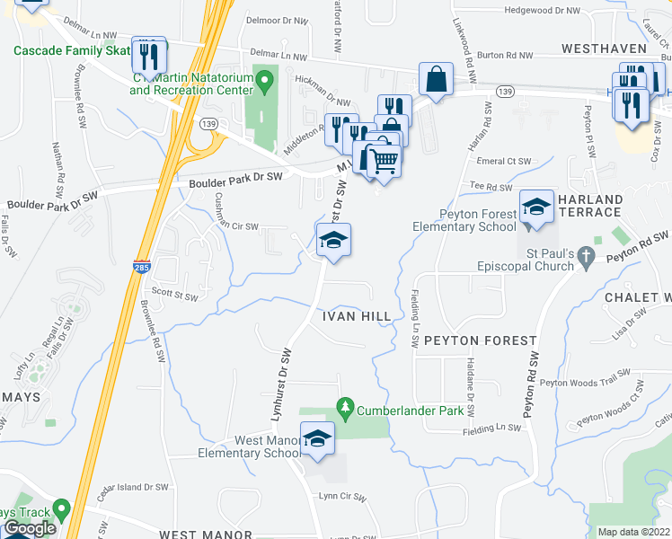 map of restaurants, bars, coffee shops, grocery stores, and more near 3079-3099 Lynhurst Circle Southwest in Atlanta