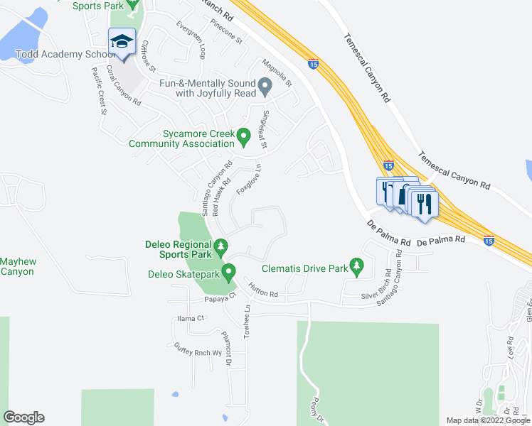 map of restaurants, bars, coffee shops, grocery stores, and more near 11355 Bluebird Way in Corona