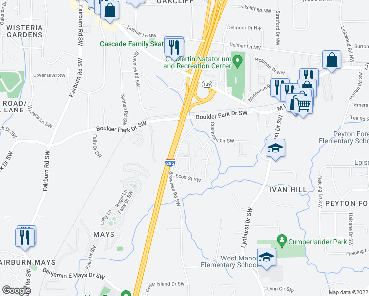 map of restaurants, bars, coffee shops, grocery stores, and more near 294 Brownlee Road Southwest in Atlanta