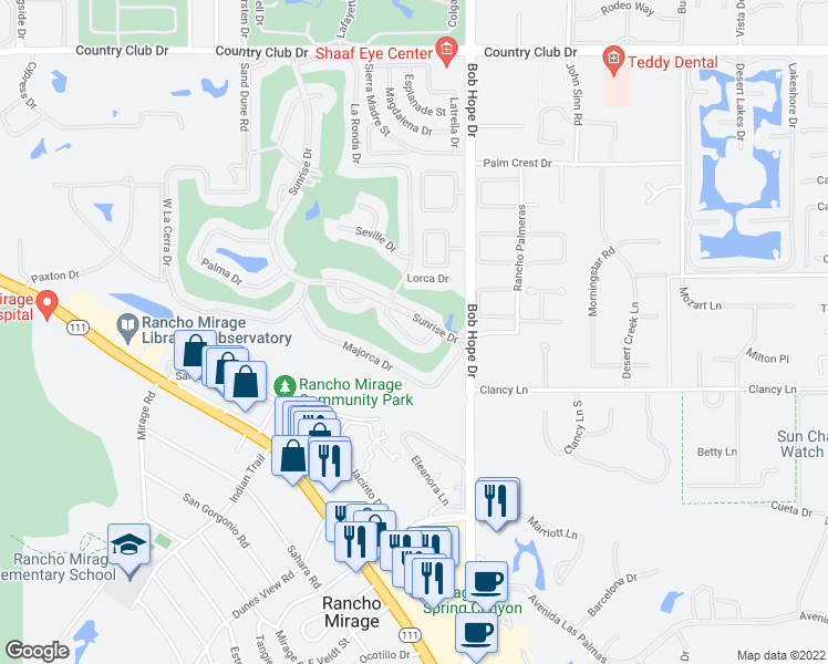 map of restaurants, bars, coffee shops, grocery stores, and more near 35 Malaga Drive in Rancho Mirage