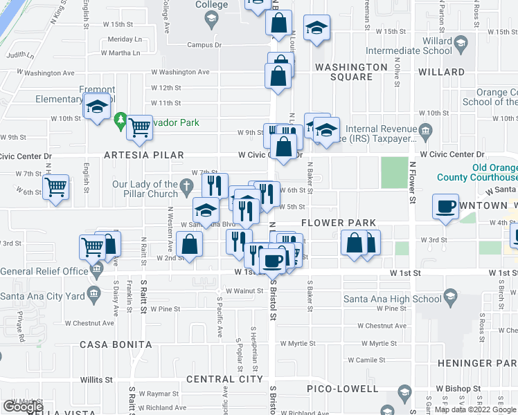 map of restaurants, bars, coffee shops, grocery stores, and more near 1314 West 5th Street in Santa Ana