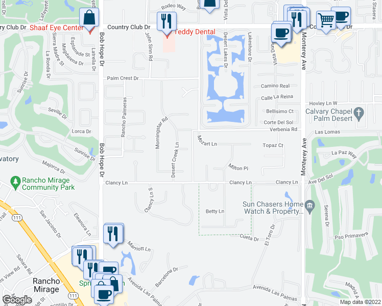 map of restaurants, bars, coffee shops, grocery stores, and more near 72420 Silver Spur Lane in Rancho Mirage