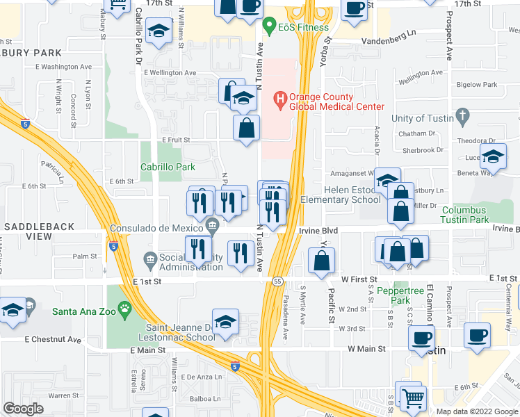 map of restaurants, bars, coffee shops, grocery stores, and more near 521 North Tustin Avenue in Santa Ana