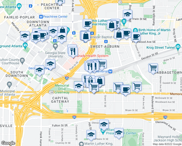 map of restaurants, bars, coffee shops, grocery stores, and more near 349 Decatur Street Southeast in Atlanta