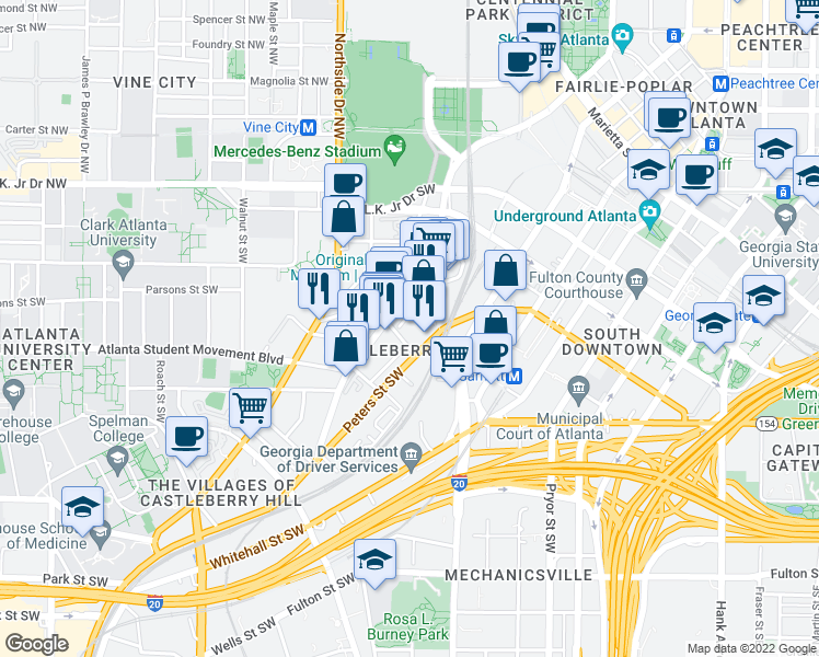 map of restaurants, bars, coffee shops, grocery stores, and more near 172 Haynes Street Southwest in Atlanta