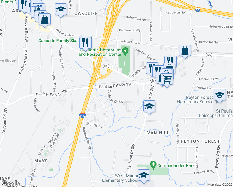map of restaurants, bars, coffee shops, grocery stores, and more near 3215 Cushman Circle Southwest in Atlanta