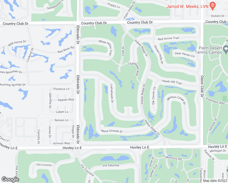 map of restaurants, bars, coffee shops, grocery stores, and more near 352 Tomahawk Drive in Palm Desert