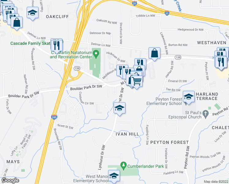 map of restaurants, bars, coffee shops, grocery stores, and more near 3136 Martin Luther King Junior Drive Southwest in Atlanta