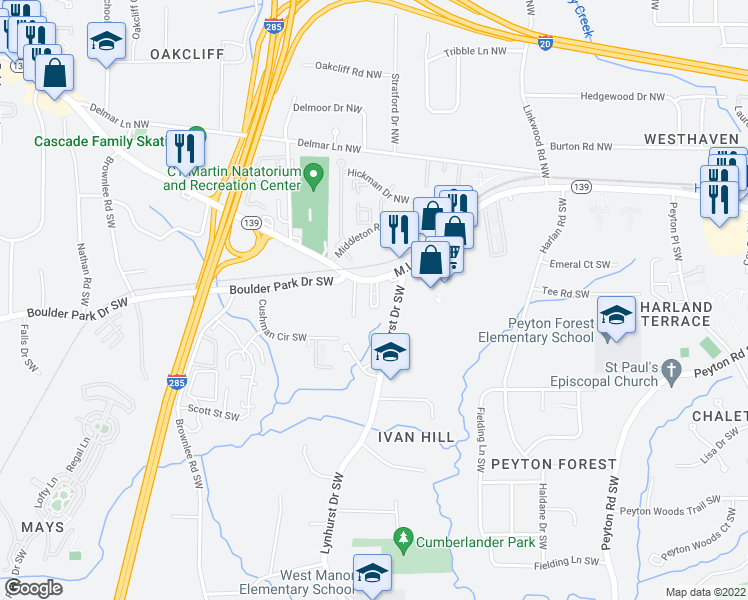 map of restaurants, bars, coffee shops, grocery stores, and more near 3136 M L King Junior Drive Southwest in Atlanta