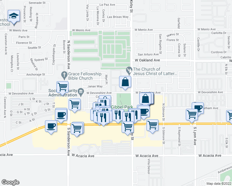 map of restaurants, bars, coffee shops, grocery stores, and more near 2770 West Devonshire Avenue in Hemet