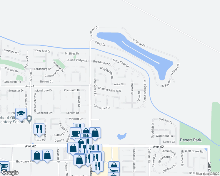 map of restaurants, bars, coffee shops, grocery stores, and more near 83160 Shadow Hills Way in Indio