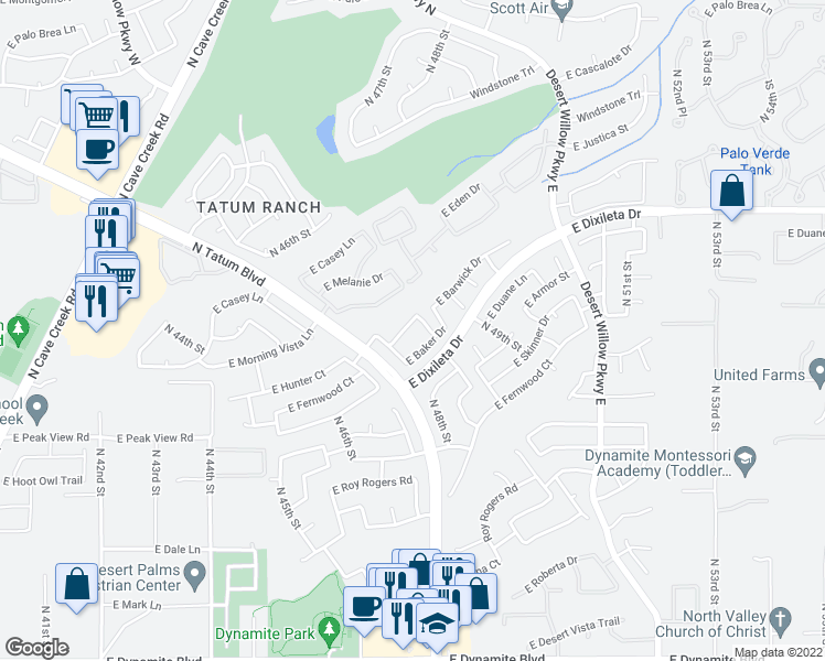 map of restaurants, bars, coffee shops, grocery stores, and more near 4823 East Barwick Drive in Cave Creek