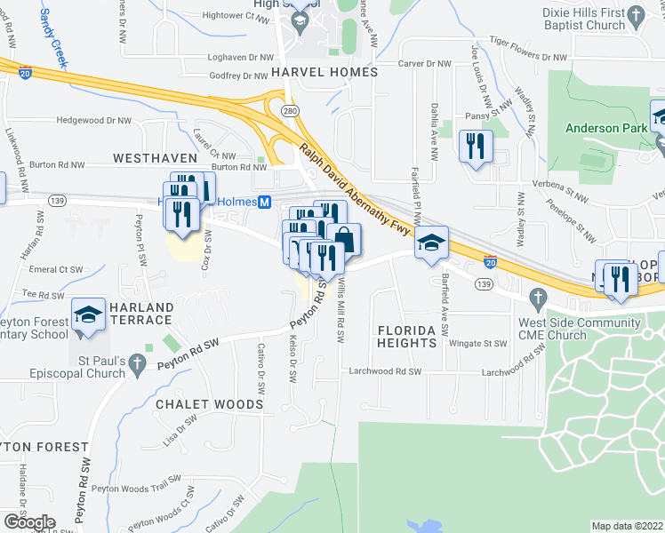 map of restaurants, bars, coffee shops, grocery stores, and more near 2423 Martin Luther King Junior Drive Southwest in Atlanta