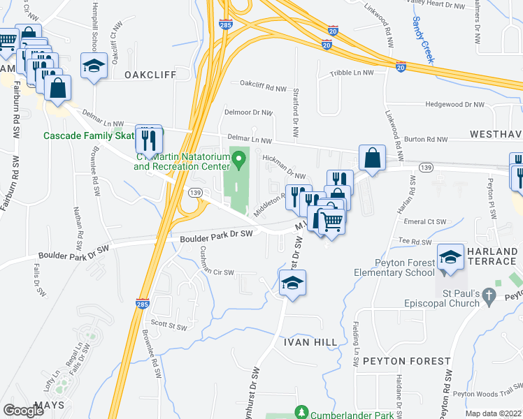 map of restaurants, bars, coffee shops, grocery stores, and more near 10-98 Allen Temple Court Northwest in Atlanta