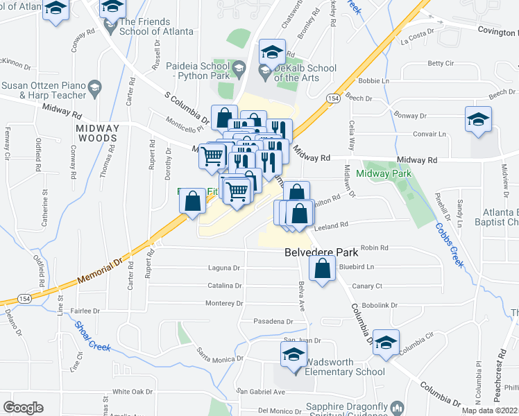 map of restaurants, bars, coffee shops, grocery stores, and more near Belvedere Plaza in Decatur