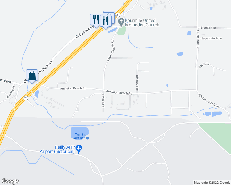 map of restaurants, bars, coffee shops, grocery stores, and more near Anniston Beach Road in Anniston