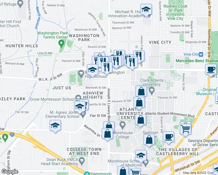 map of restaurants, bars, coffee shops, grocery stores, and more near 897 Drummond Street Southwest in Atlanta