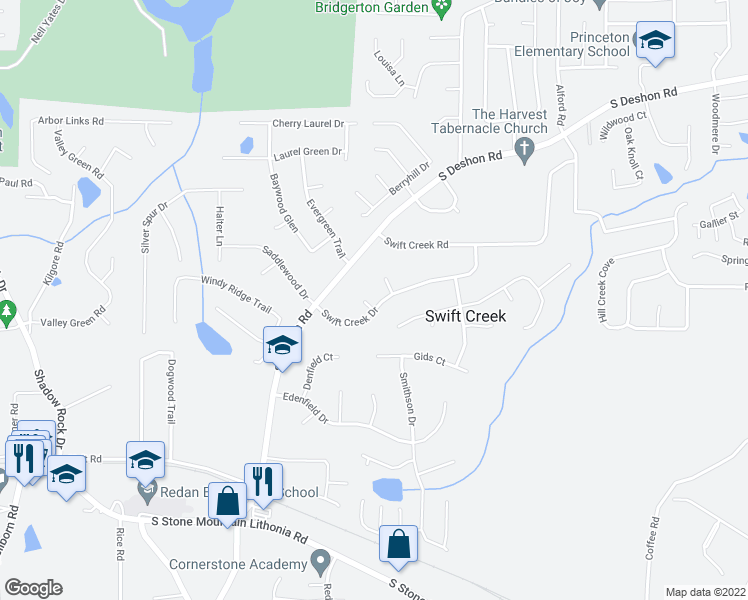 map of restaurants, bars, coffee shops, grocery stores, and more near 6438 Swift Creek Drive in Lithonia