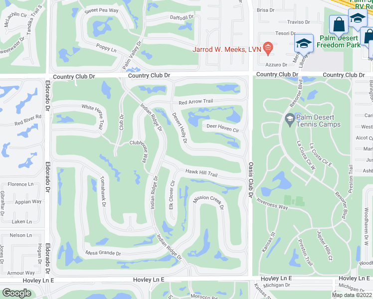 map of restaurants, bars, coffee shops, grocery stores, and more near 347 Desert Holly Drive in Palm Desert
