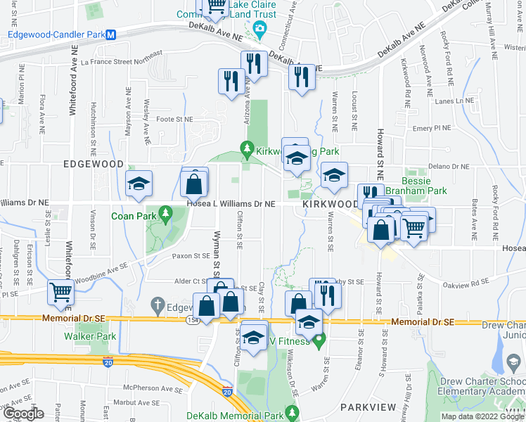 map of restaurants, bars, coffee shops, grocery stores, and more near 1761 Hosea L Williams Drive Northeast in Atlanta