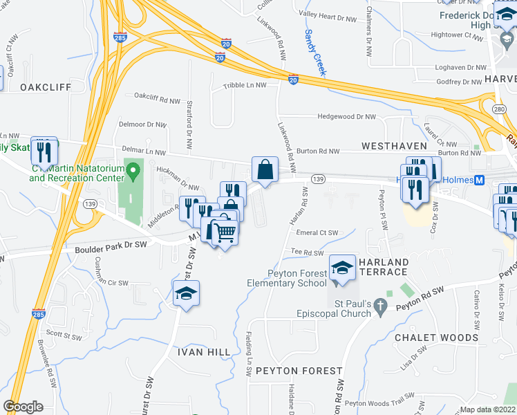 map of restaurants, bars, coffee shops, grocery stores, and more near 2-9 Sheffield Drive Southwest in Atlanta