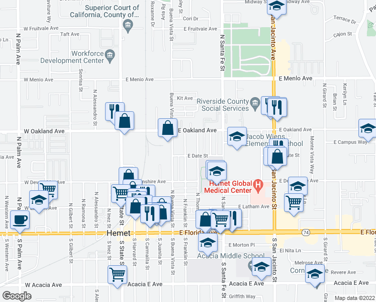 map of restaurants, bars, coffee shops, grocery stores, and more near 601-699 East Date Street in Hemet