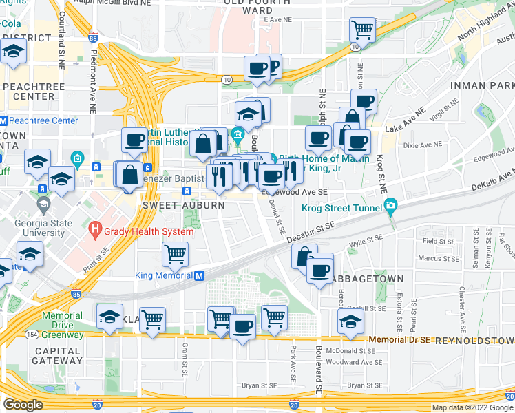map of restaurants, bars, coffee shops, grocery stores, and more near 49 Boulevard Southeast in Atlanta