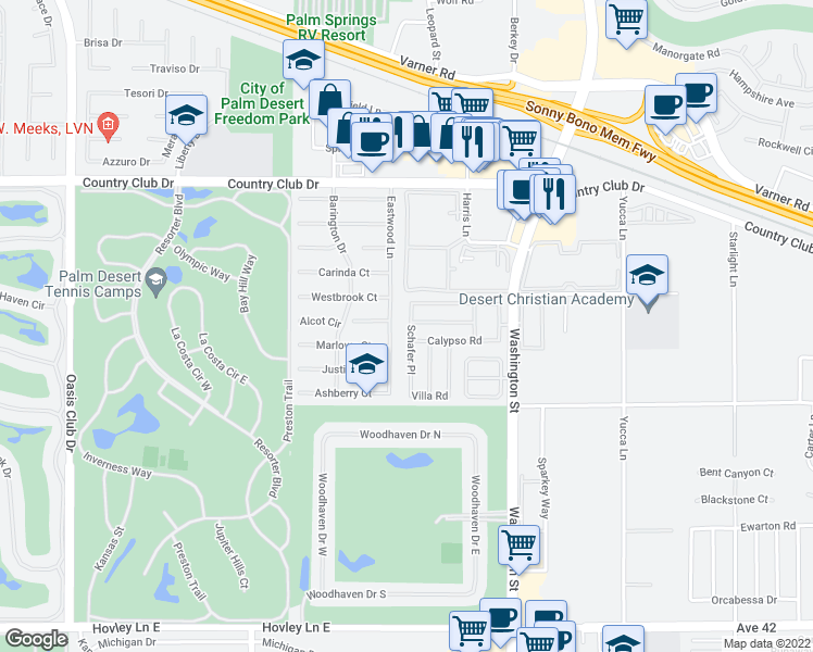 map of restaurants, bars, coffee shops, grocery stores, and more near 40641 Schafer Place in Palm Desert