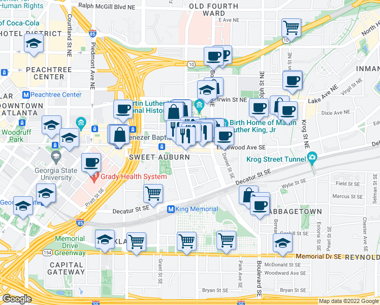 map of restaurants, bars, coffee shops, grocery stores, and more near 412 Chamberlain Street Southeast in Atlanta