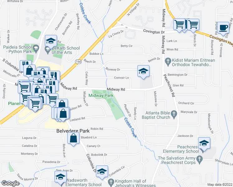 map of restaurants, bars, coffee shops, grocery stores, and more near 3227 Midway Road in Decatur