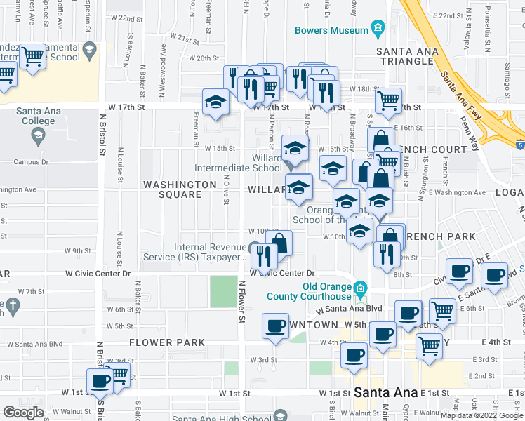map of restaurants, bars, coffee shops, grocery stores, and more near 1023 North Parton Street in Santa Ana