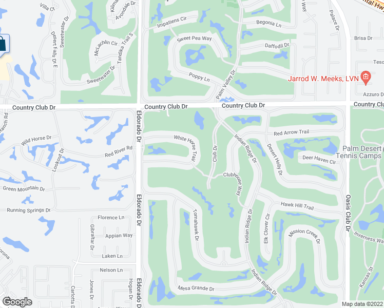 map of restaurants, bars, coffee shops, grocery stores, and more near 301 White Horse Trail in Palm Desert